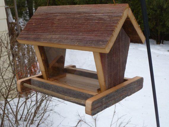 Rustic Wooden Barn Board Bird Feeder By Mertswoodshop On Etsy
