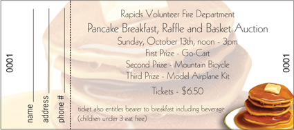 personalized raffle ticket with pancake breakfast design 5 12 x 2 38 perforated and numbered 4000 for 100