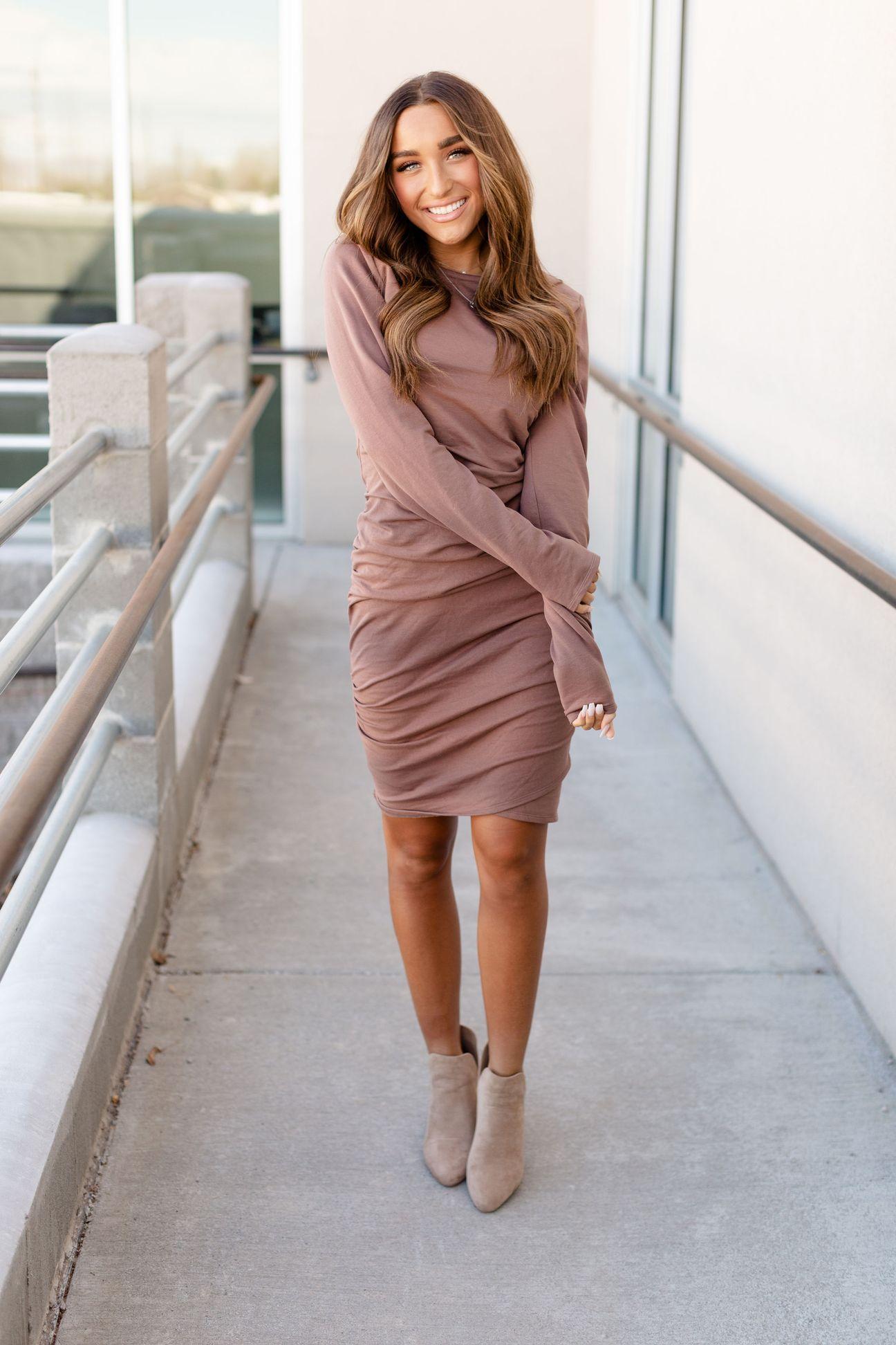 Long Sleeve Better Than Basic Dress Mocha Final Sale Long Sleeve Dress Outfit Long Sleeve Dress Winter Basic Dress [ 1944 x 1296 Pixel ]