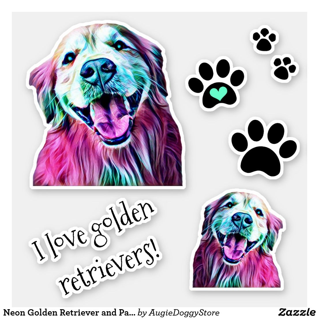 Neon Golden Retriever And Pawprints Group Sticker Zazzle Com