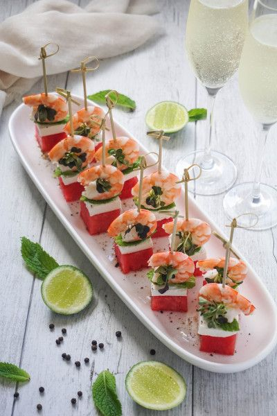 Watermelon prawn and feta tapas fancy wedding canapes for Mini prawn cocktail canape