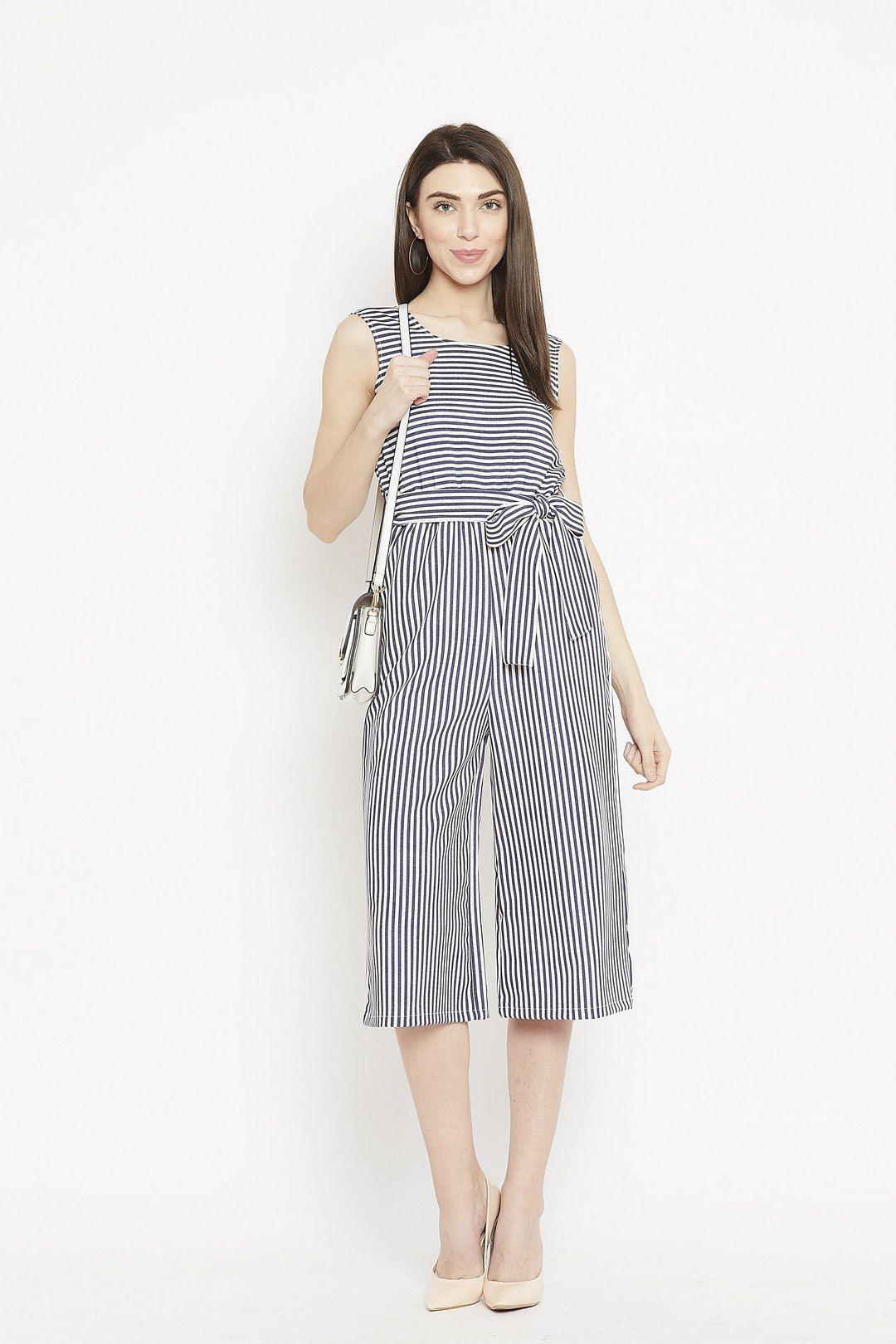 28f283bb07c Navy blue and white striped sleeveless culotte jumpsuit