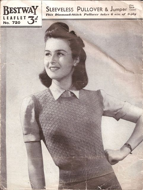 763e5e30ff3 1940 s Knitting - Sleeveless Pullover Knitting Patterns Free