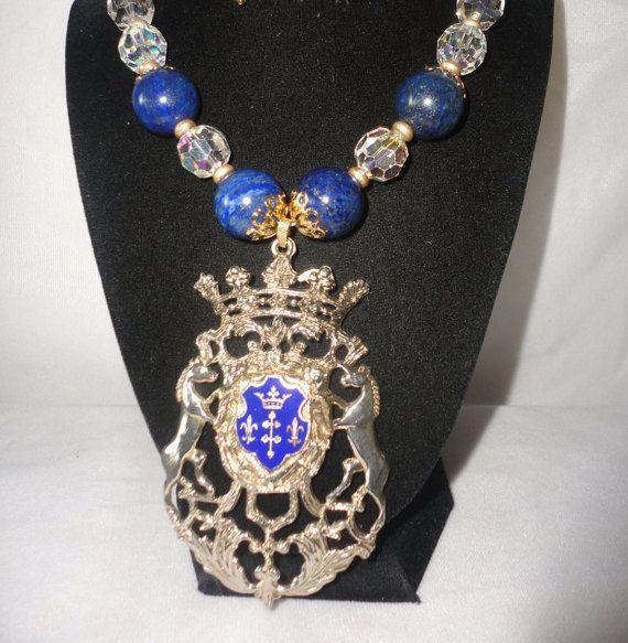Gorgeous Austrian Crystals Lapiz Horse Crest by RamsesTreasure