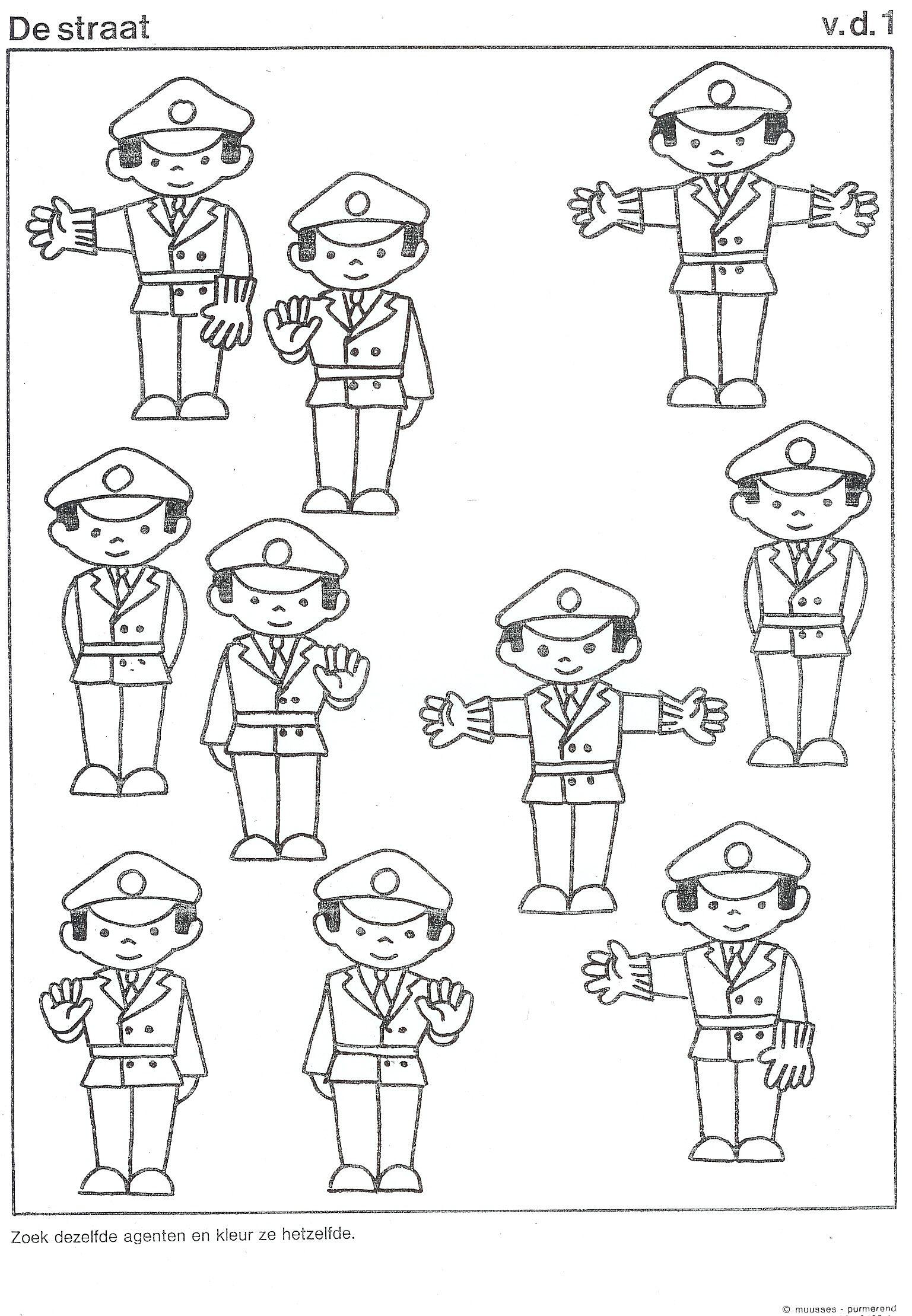 Werkblad Zoek Dezelfde Peuterspeelzaal Ideeen Thema Politie