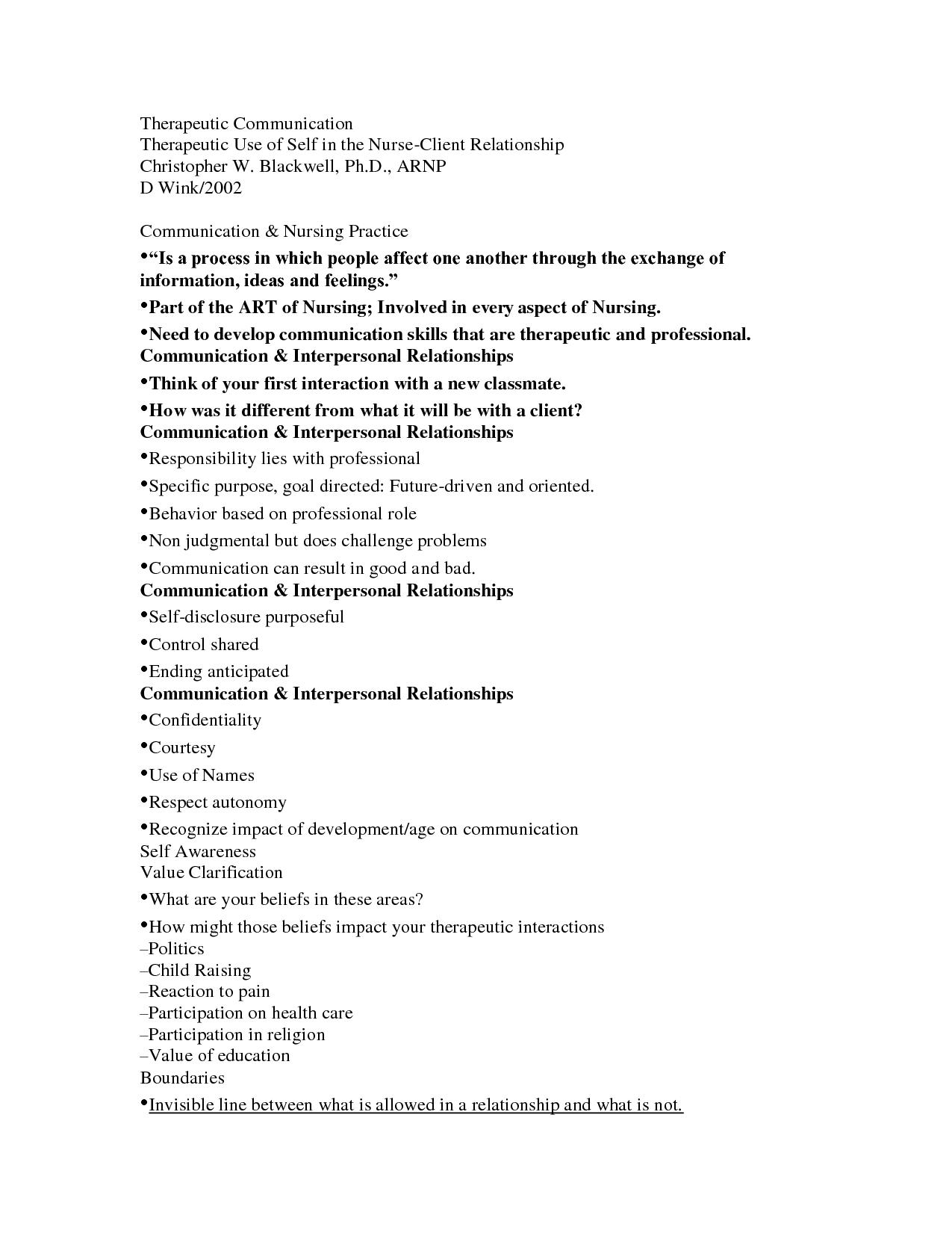 Therapeutic Communication Nursing Math Therapeutic Nursing Education