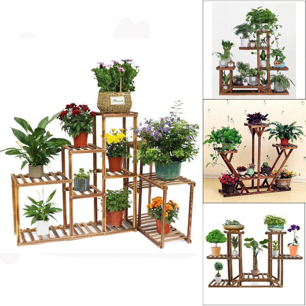3 4 5 6 Tier Wooden Wood Plant Stand Flower Pot Rack Holder Shelf Outdoor Indoor Plant Holder Ideas Of Pla Wooden Plant Stands Wooden Flowers Plant Holders