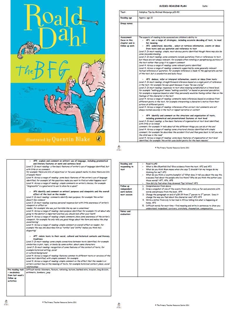 The BFG Guided Reading Plans