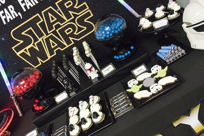 Star Wars themed birthday party. Love the Blue and Red candy bowls. & Star Wars Themed Birthday Party Ideas Decor Planning Styling ...