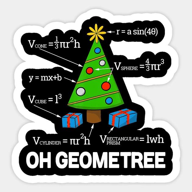 Funny Math Geometry Christmas Tree Geometree Teacher - Funny Math Geometry Christmas Tree Geom - Sticker | TeePublic