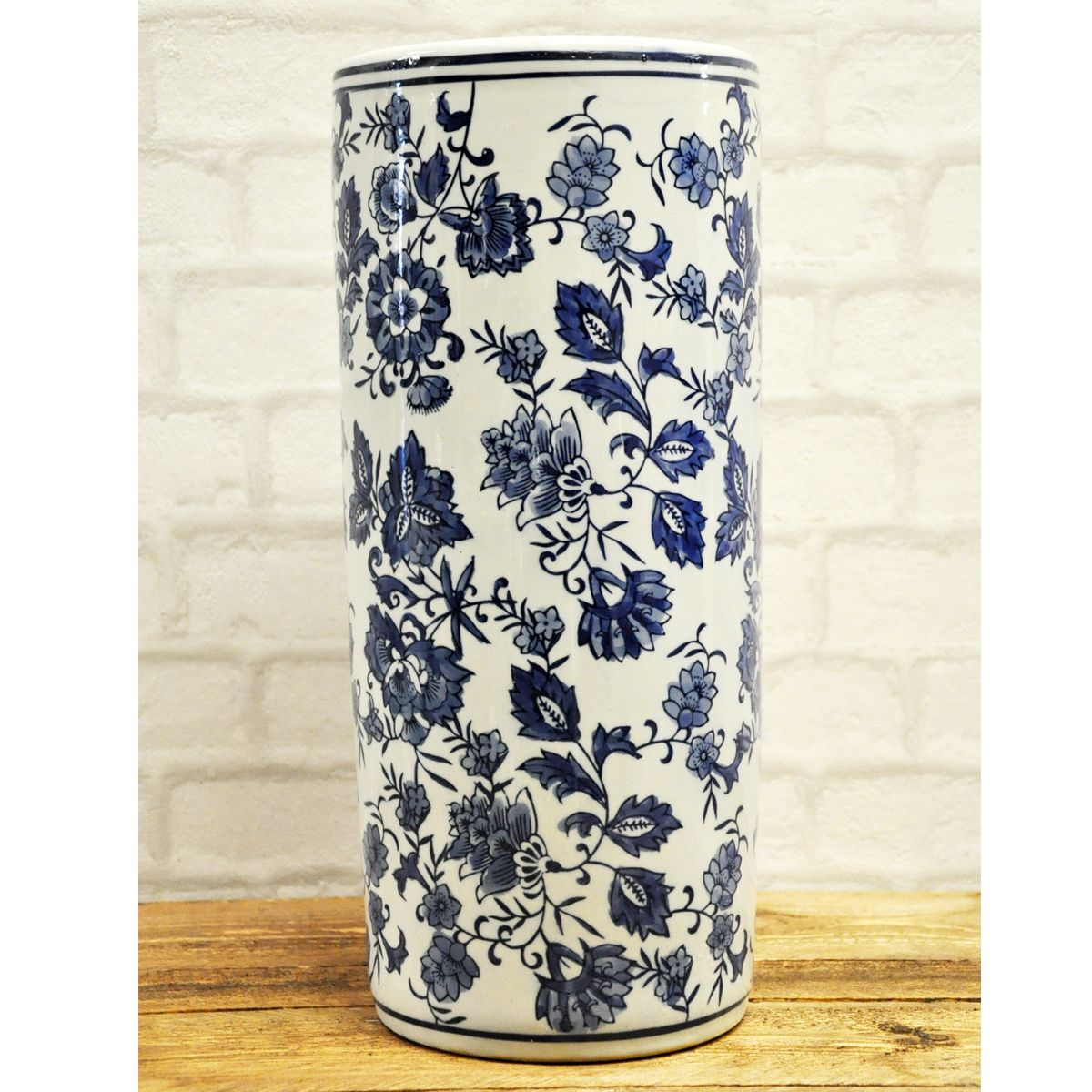 Umbrella Stand Blue And White: Blue & White Vintage Style Ceramic Floral Umbrella Stand