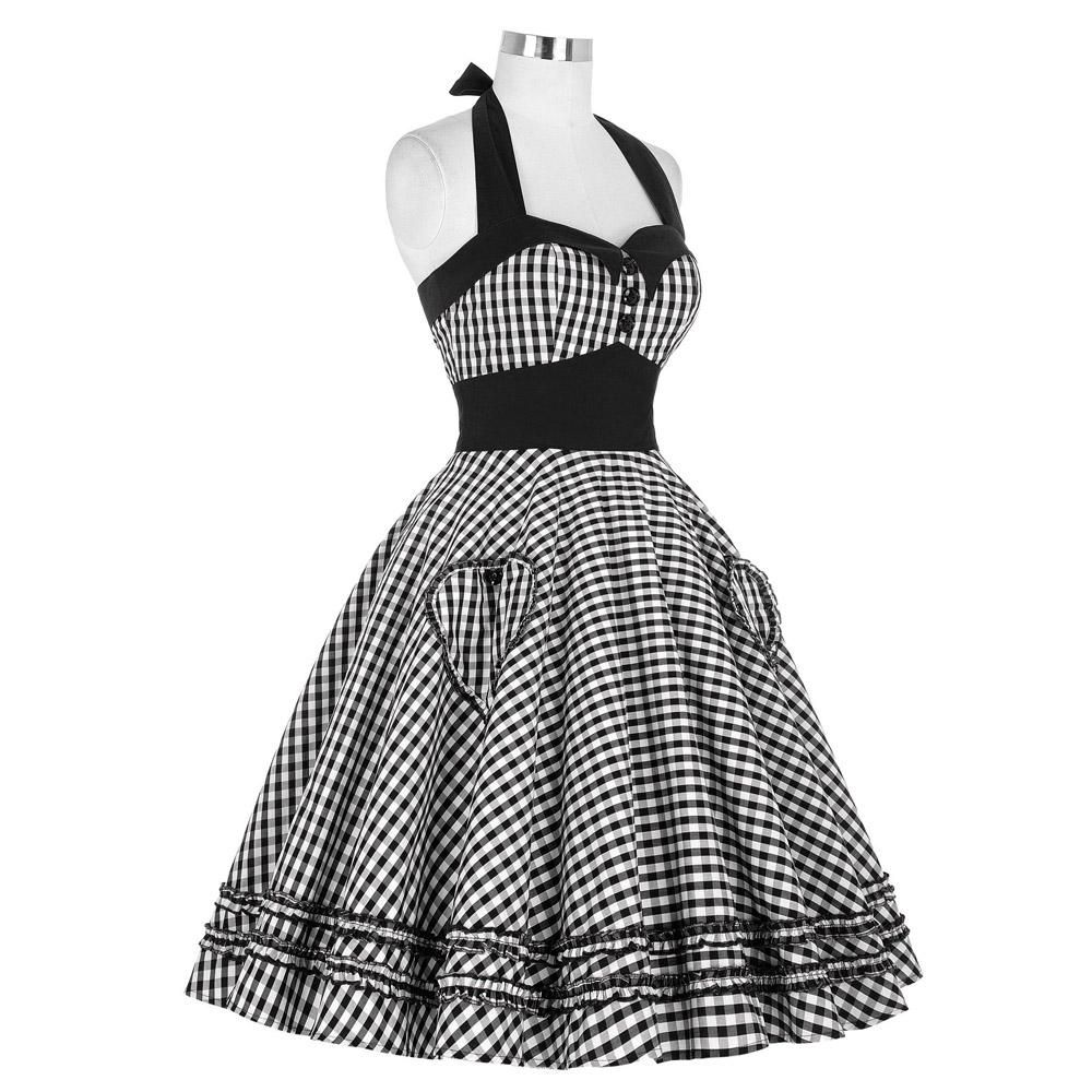 5bf26067e8ee Belle Poque Summer Dress Plus Size Retro Swing Gown Pin up Plaid Vintage  Rockabilly Dresses Sleeve