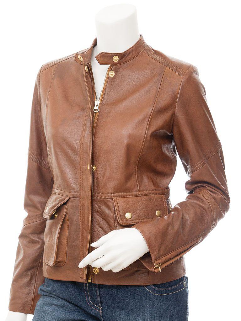 cda0973de Womens Tan Leather Jacket: Bigbee in 2019   BAD ASS!!!   Tan leather ...