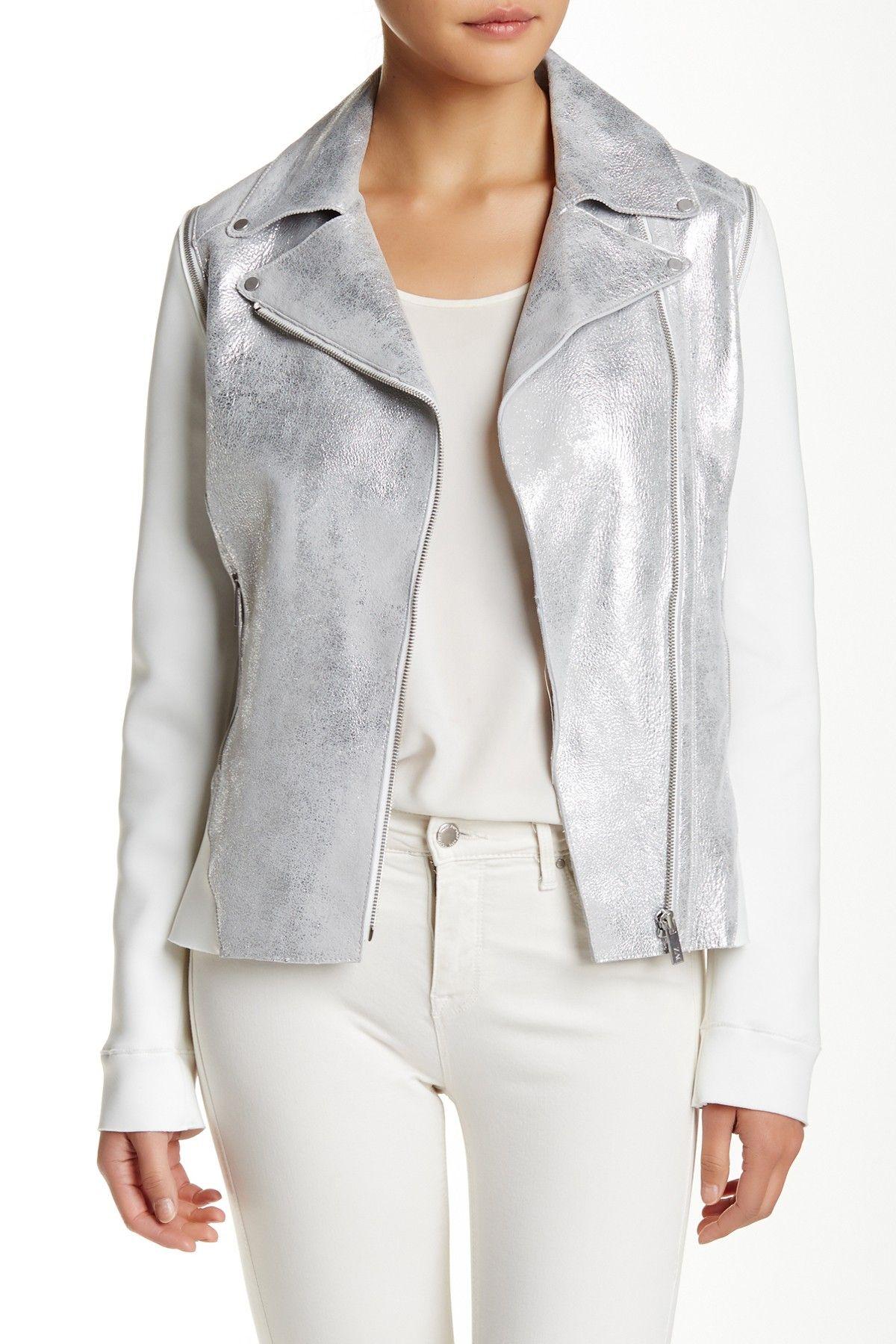 Zoey Asymmetric Suede Moto Leather Jacket