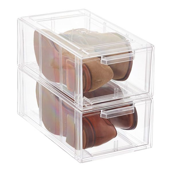 Clear Stackable Large Shoe Drawer Shoe Drawer Shoe Storage Containers Container Store