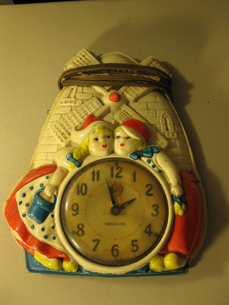 Vintage Dutch Boy Girl Windmill Yorkshire Electric Wall Clock NON ...