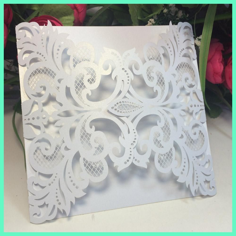 40pcs European Iridescent Pearl Paper Wedding Invitation Card Hollow ...