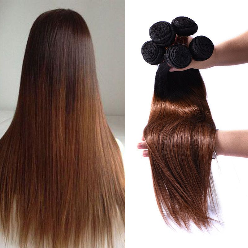 Top Quality 3 Bundles Auburn Brown Brazilian Ombre Hair Extensions
