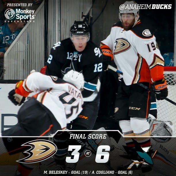 Not a great effort tonight. We need to beat these guys! Ducks fall 3-6!