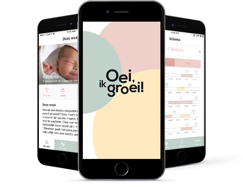 De Oei, ik groei! App, gebaseerd op internationaal wetenschappelijk onderzoek en houdt jou op de hoogte van de mentale ontwikkeling van jouw baby!
