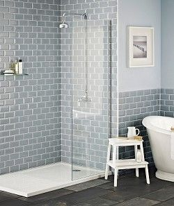 modern, blue-grey bevel tiled shower