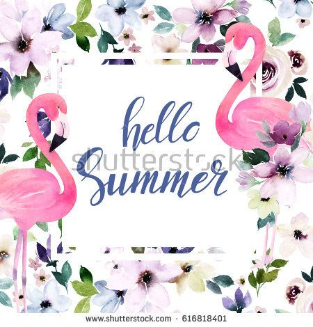 Watercolor floral template with calligraphy hello summer for - easter greeting card template