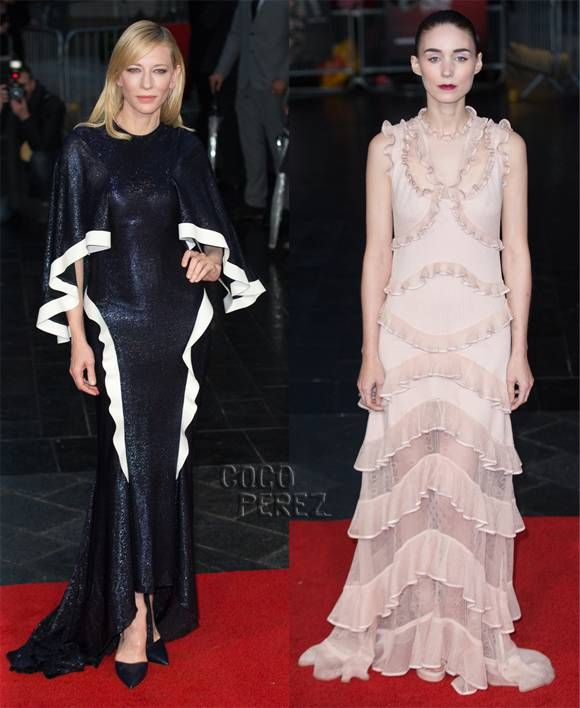 Cate Blanchett & Rooney Mara Bring The Drama With Ruffles To The Carol Premiere
