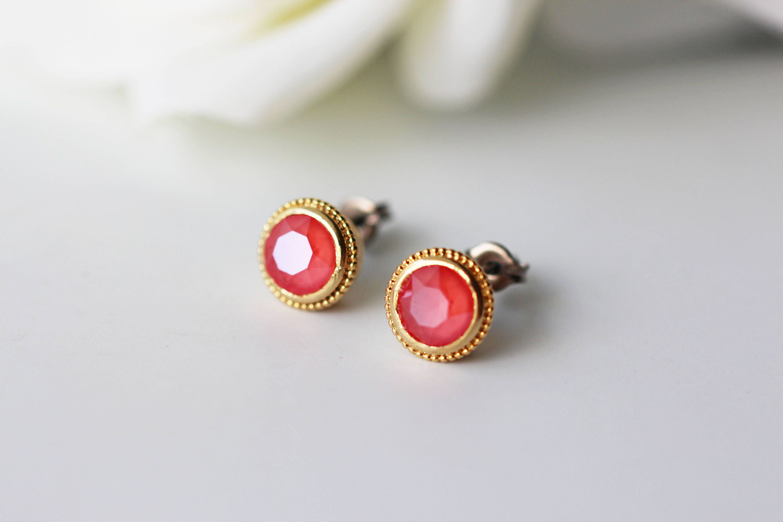 Light C Red Swarovski Crystal Anium Studs Gold Bezel Nickel Free Earrings By Kaorikaori On Etsy