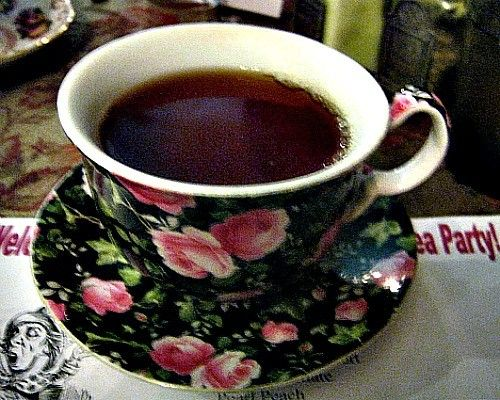A cup of Black Duchess tea from The Vintage Tea Leaf