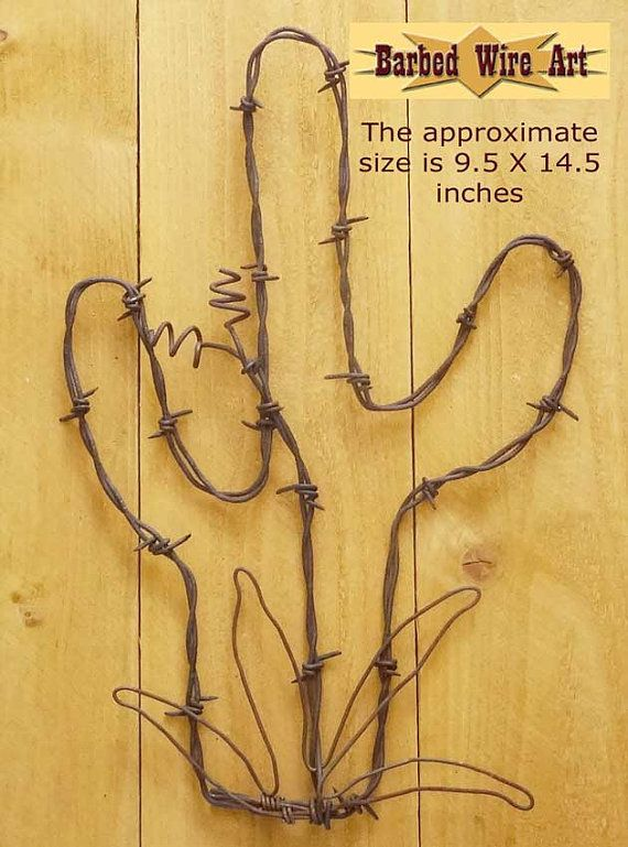 Cactus & Flower - Handmade metal decor barbed wire art country ...