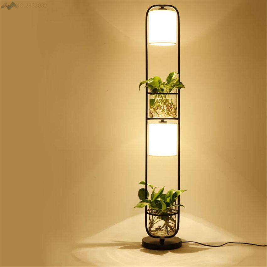 2018 Modern Art Creative Plants Floor Lamp Plasscloth Standing Light For Living Room Office Cafe Floor Lamps Living Room Lamps Living Room Living Room Lighting