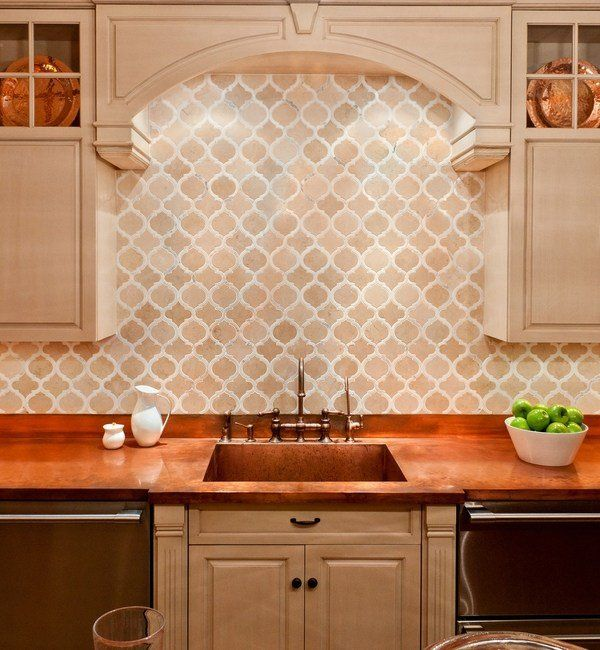 Traditional Kitchen Tile Backsplash Ideas Part - 25: Moroccan Tile Backsplash Ideas Arabesque Shaped Tiles Mediterranean Style  Kitchen