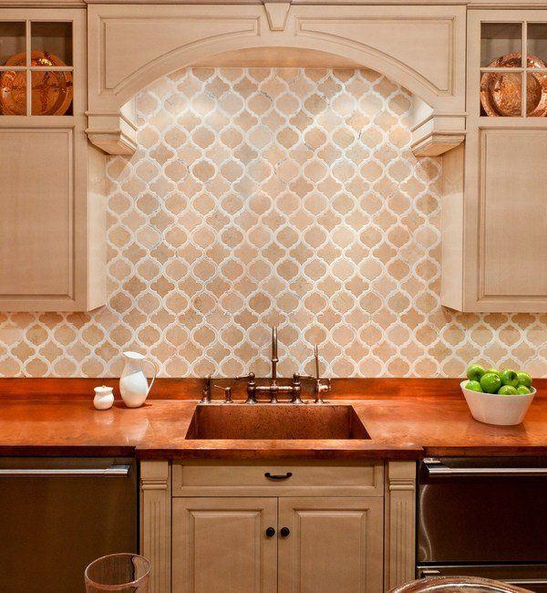 Moroccan Tile Backsplash Ideas Arabesque Shaped Tiles Mediterranean Style Kitchen