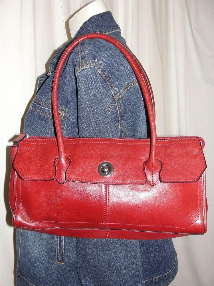 Wilsons Leather Pelle Studio Purse Vintage Red Leather