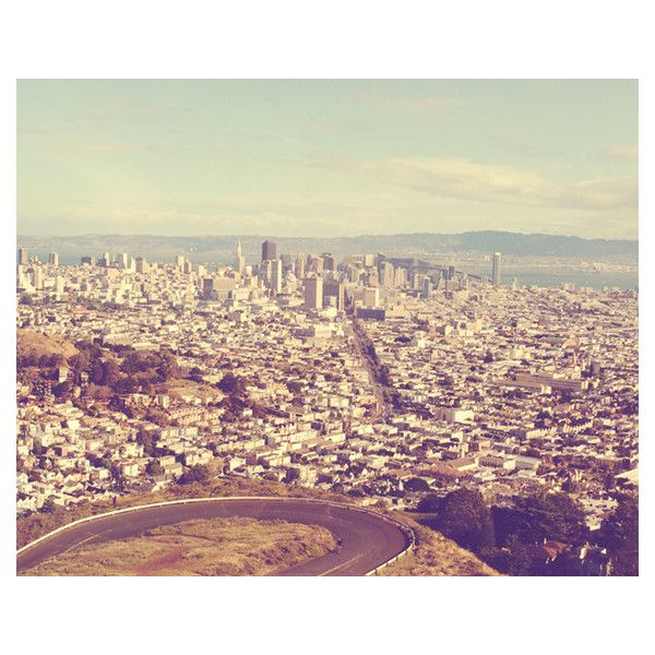 """San Francisco cityscape photograph, """"3rd time's the charm"""". Twin Peaks... ($90) ❤ liked on Polyvore"""