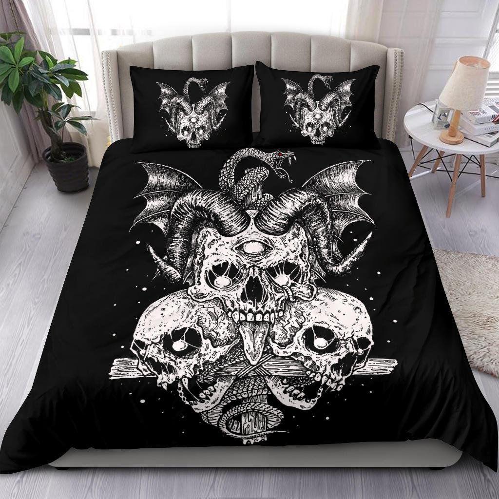 Skull Cyclops 3 Piece Duvet Set-Skull Duvet-Skull Bed Cover-Skull Bedding-