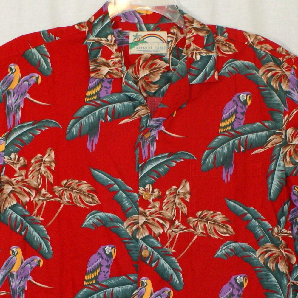 786a1f5b Vtg PARADISE FOUND Hawaiian Shirt MAGNUM PI Large Jungle Birds Red Purple # ParadiseFound #Hawaiian