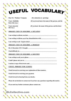 This paper contains useful vocabulary and phrases when you write a this paper contains useful vocabulary and phrases when you write a complaint letter esl worksheets spiritdancerdesigns Gallery