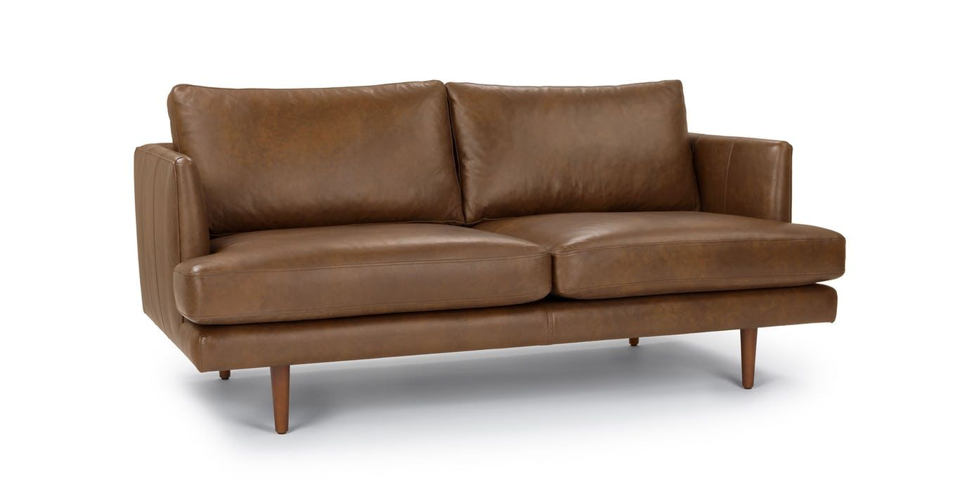 Fantastic Tan Leather Loveseat Solid Wood Legs Article Burrard Onthecornerstone Fun Painted Chair Ideas Images Onthecornerstoneorg