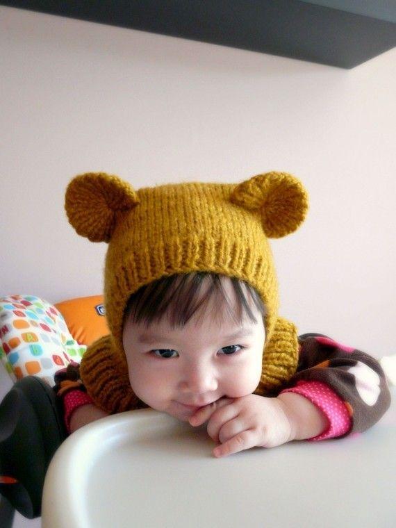 honey bear coverall hat • Gorro Para Bebés 943d9e6409c