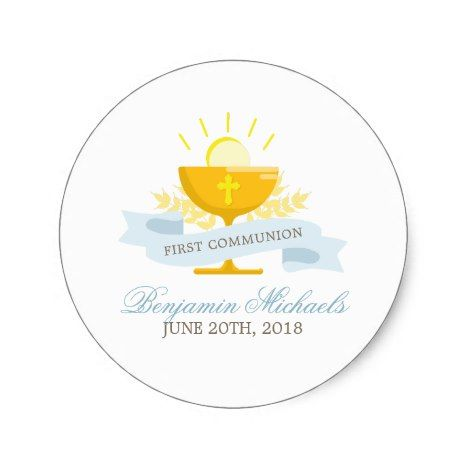 Boys first holy communion classic round stickerstickers weddingstickers thankyoustickers fun