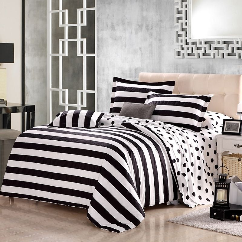 Black And White Polka Dot And Stripe Print Modern Chic Traditional Reversible 100 Organic Cotton Full Queen Size Bedding Sets White Bed Set Bedding Sets Luxury Bedding Sets