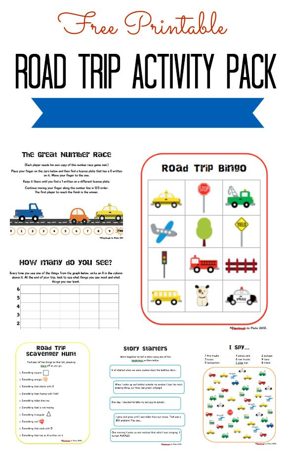 Free Road Trip Activity Pack | Road trip activities, Road ...