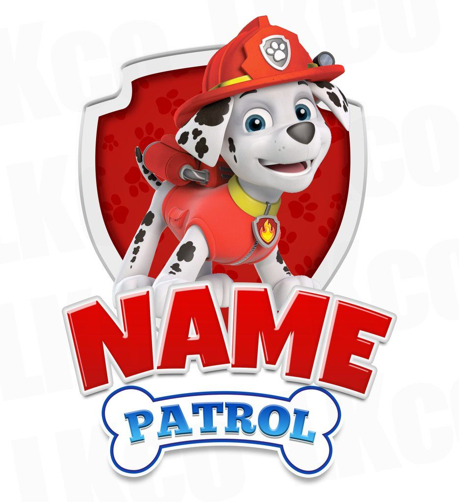 Paw Patrol Iron On Transfer - Family Members Add-on | Marshall Red ...