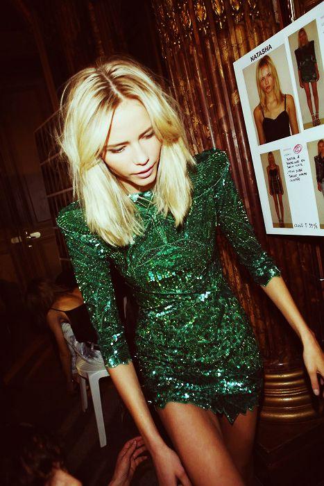 Balmain. Emerald green dress. #celebstylewed #bridal #nuptials