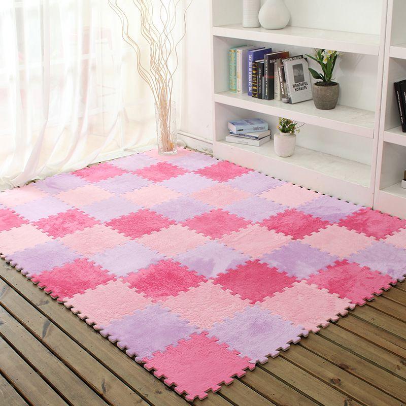 5pcs/set Puzzle Play Mat Floor Flannel Stitching Foam Mats Bedroom ...