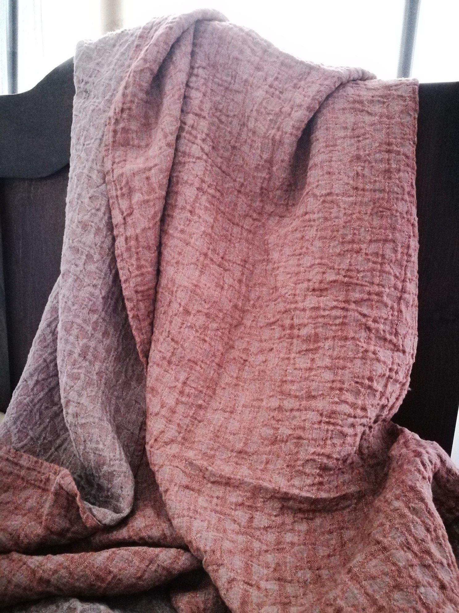 Linen Blanket Dark Pink Throw Natural Home Decor