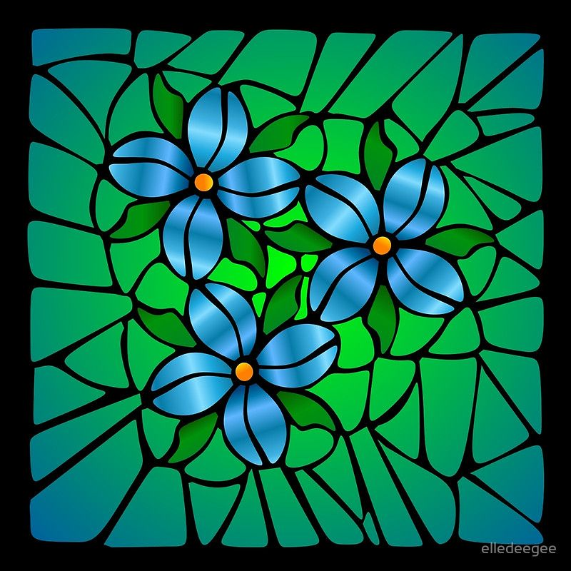Stained Glass Blue Flowers