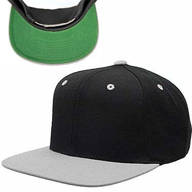 63fdd4fc5da Black Silver  Wholesale  Flexfit  Yupoong  FlatBill Two-Tone Pro Style Wool  Blend Snap Back Hats