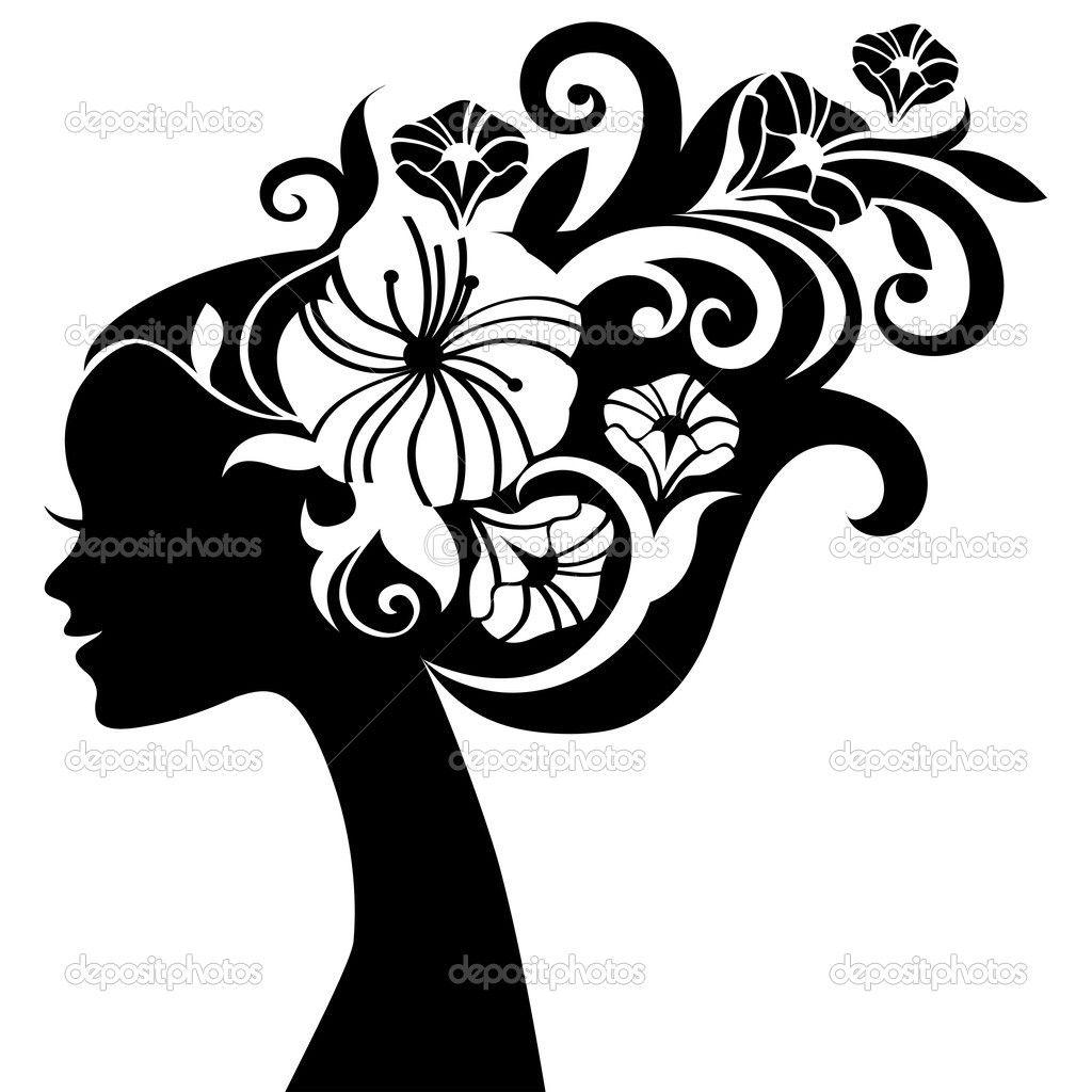 Silueta De Mujer Hermosa Con Flores